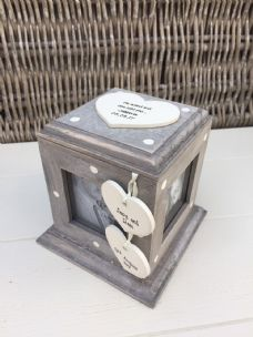 Shabby Chic Rustic Wood Style Personalised Engagement Gift Photo Cube Box